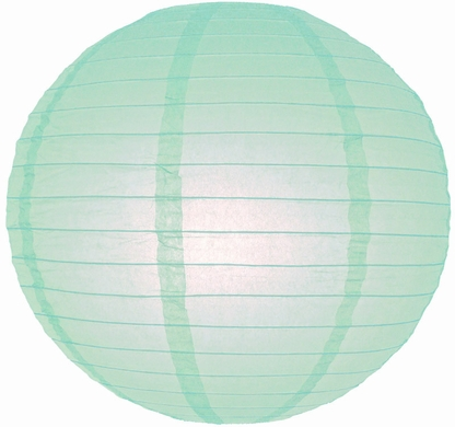 "4"" Arctic Spa Blue Round Paper Lantern, Even Ribbing, Hanging (10 PACK) (Light Not Included)"