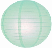 "8"" Arctic Spa Blue Round Paper Lantern, Even Ribbing, Hanging (Light Not Included)"