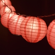 "10 Socket Fuchsia Round Paper Lantern Party String Lights (4"" Lanterns)"