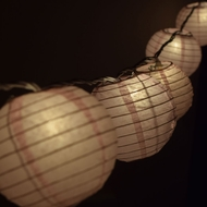 "10 Socket Pink Round Paper Lantern Party String Lights (4"" Lanterns)"