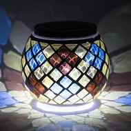 "4"" Solar Powered Mosaic Multi-Color Diamond Glass Tea LED Table Light, Battery Operated"