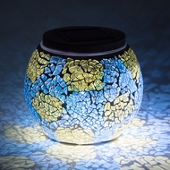 "4"" Solar Powered Mosaic Multi-Color Shattered Glass Tea LED Table Light, Battery Operated"