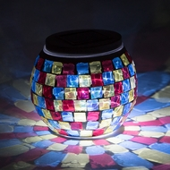 "4"" Solar Powered Mosaic Multi-Color Square Glass Tea LED Table Light, Battery Operated"