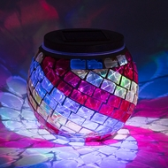 "4"" Solar Powered Mosaic Multi-Color Swirl Glass Tea LED Table Light, Battery Operated"