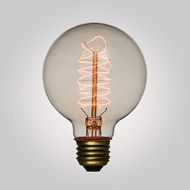 40-Watt Incandescent G80 Globe Vintage Edison Light Bulb, Spiral Filament, E26 Base
