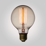 40-Watt Incandescent G80 Globe Vintage Edison Light Bulb, Squirrel Cage Filament, E26 Base