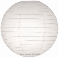 "14"" White Round Paper Lantern, Even Ribbing, Hanging (Light Not Included)"