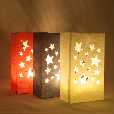 4th Of July Red White Blue Stars Paper Luminary Bags Path Lighting 3 Pack