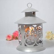 "5"" Round Tealight Hurricane Candle Lantern - Silver"