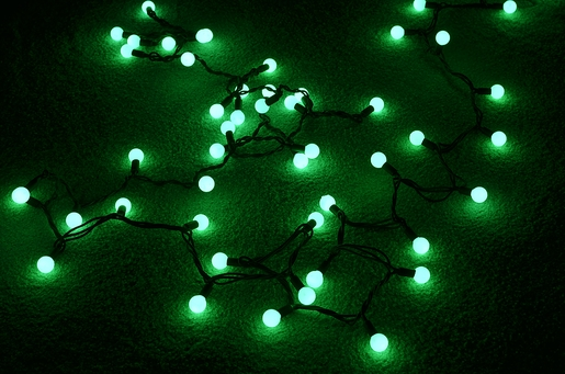 50 green led large ball string lights 17ft black cord on sale now