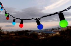 50 Indoor/Dry Outdoor Multi Color RGB LED Globe Ball String Lights, 17FT Black Cord