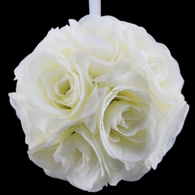 "6"" Beige / Ivory Rose Flower Pomander Small Wedding Kissing Ball for Weddings and Decoration"