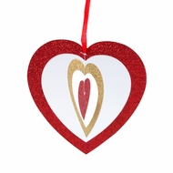 """6"""" Cut-Out Hearts Glitter Red and Gold Paper Hanging Decoration"""