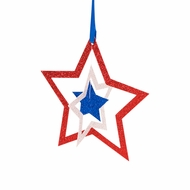 """6"""" Cut-Out Stars 4th of July Glitter Red, White Blue Paper Hanging Decoration"""