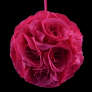 "6"" Fuchsia / Hot Pink Rose Flower Pomander Small Wedding Kissing Ball for Weddings and Decoration"
