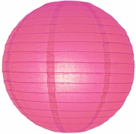 "6"" Fuchsia / Hot Pink Round Paper Lantern, Even Ribbing, Hanging Decoration"