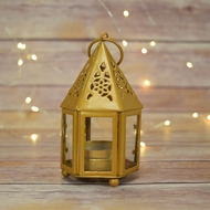 "4.75"" Gold Hampi Hurricane Candle Lantern"