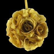 "6"" Gold Rose Flower Pomander Small Wedding Kissing Ball for Weddings and Decoration"
