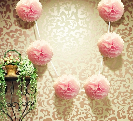 6 light pink hanging tissue paper flower pom pom party garland ez fluff 6 light pink hanging tissue paper flower pom pom party garland decoration mightylinksfo Choice Image