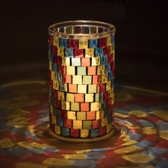 "6"" Multi-Color Mosaic Square Glass Votive Tea Light Candle Holder"