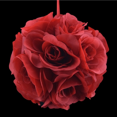 "6"" Red Rose Flower Pomander Small Wedding Kissing Ball for Weddings and Decoration"