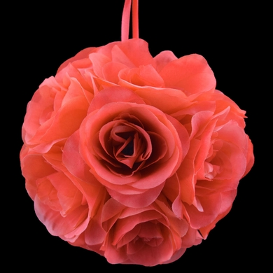 "6"" Roseate / Pink Coral Rose Flower Pomander Small Wedding Kissing Ball for Weddings and Decoration"