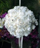 "6"" White Foam Kissing Flower Balls w/ Rhinestones"