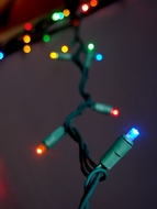 70 Outdoor RGB LED 5mm Polka Dot String Lights, 23.6 FT Green Cord, Weatherproof, Expandable