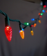 70 Outdoor RGB LED C6 Strawberry String Lights, 24 FT Green Cord, Weatherproof, Expandable