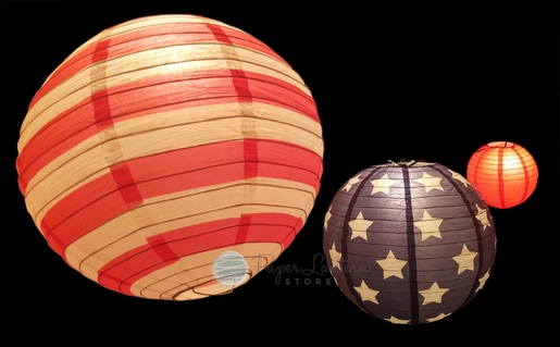 """8/12/14"""" 4th of July Red, White and Blue Round Paper Lanterns, Even Ribbing, Hanging Decoration Set (3-PACK)"""