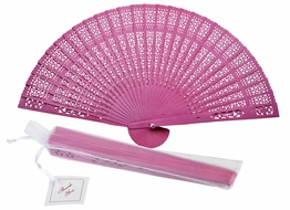 "8"" Fuchsia / Hot Pink Wood Panel Hand Fan w/ Organza Bag for Weddings"