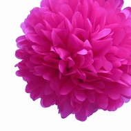"EZ-Fluff 8"" Fuchsia Tissue Paper Pom Pom Flowers, Hanging Decorations (4 PACK)"