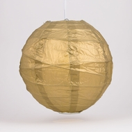 "12"" Gold Round Paper Lantern, Crisscross Ribbing, Hanging Decoration"