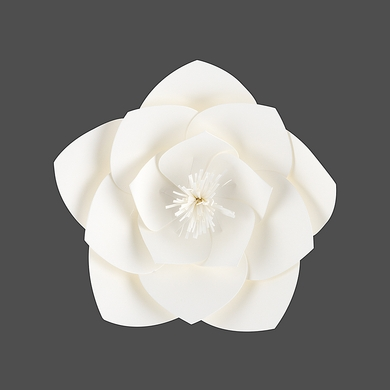 "8"" Anemone White Paper Flower Backdrop Wall Decor, 3D Premade"