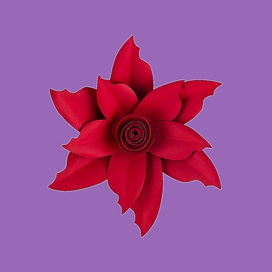 "8"" Pasque Red Paper Flower Backdrop Wall Decor, 3D Premade"