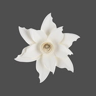 "8"" Pasque White Paper Flower Backdrop Wall Decor, 3D Premade"