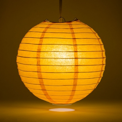 6 orange round paper lantern even ribbing hanging light not
