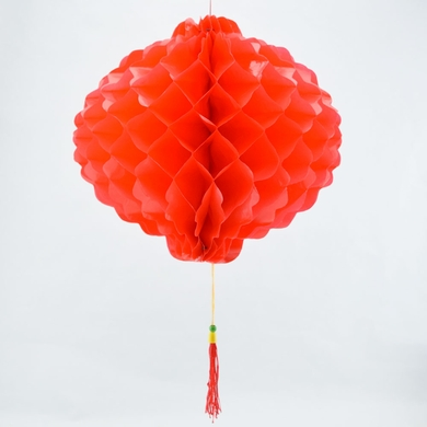 "8"" Red Chinese New Year Honeycomb Lantern Decoration, Plastic (6-PACK)"
