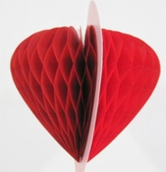 "8"" Red Valentine's Heart Honeycomb Tissue Paper Decoration"