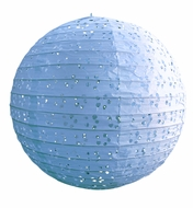 "8"" Round Eyelet Lace Look Paper Lantern - Arctic Spa Blue"