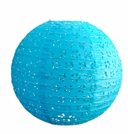 "8"" Round Eyelet Lace Look Paper Lantern - Turquoise"