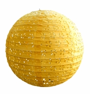 "BLOWOUT 8"" Round Eyelet Lace Look Paper Lantern - Yellow"