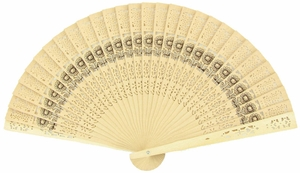 "8"" Sunflower Sandalwood / Tan Folding Hand Fans w/ Organza Bag for Weddings (10 PACK)"