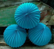 "8"" Turquoise Accordion Paper Lantern Balls - (3 PACK)"