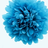 "EZ-Fluff 8"" Turquoise Tissue Paper Pom Pom Flowers, Hanging Decorations (4 PACK)"