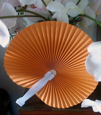 9 orange chinese folding accordion paper hand fan for weddings 10