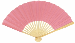"9"" Pink Silk Hand Fans for Weddings (10 PACK)"