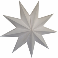 "30"" 9 Point White Laminate Paper Star Lantern, Hanging (Light Not Included)"