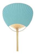 "9"" Water Blue Paddle Paper Hand Fans for Weddings (10 PACK)"