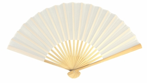 "9"" White Silk Hand Fans for Weddings (10 PACK)"